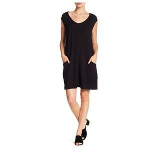 Como vintage slouchy pocket shift dress black